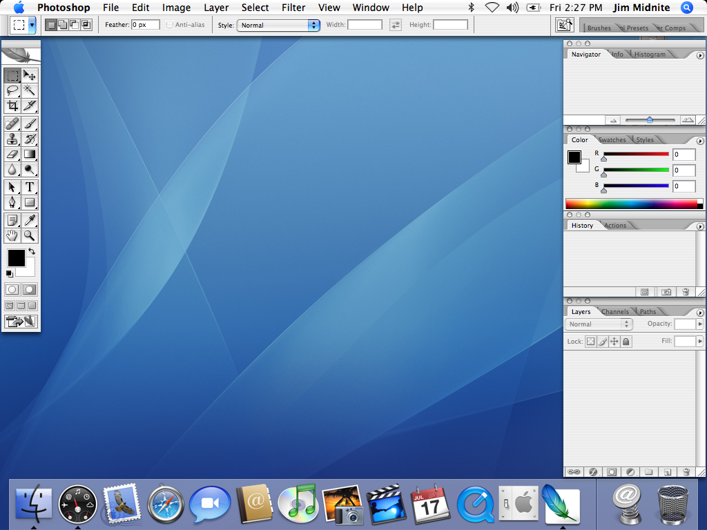 Photoshop cs2 (on mac os x 10.4 tiger). image source:http://www