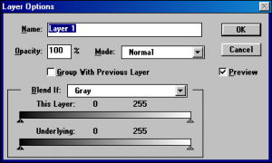 Layer options Photoshop 3.0.4 (on Windows 98)