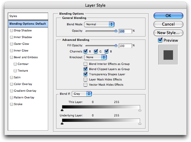 Layer options Photoshop CS2 (on Mac OS X 10.4 Tiger)