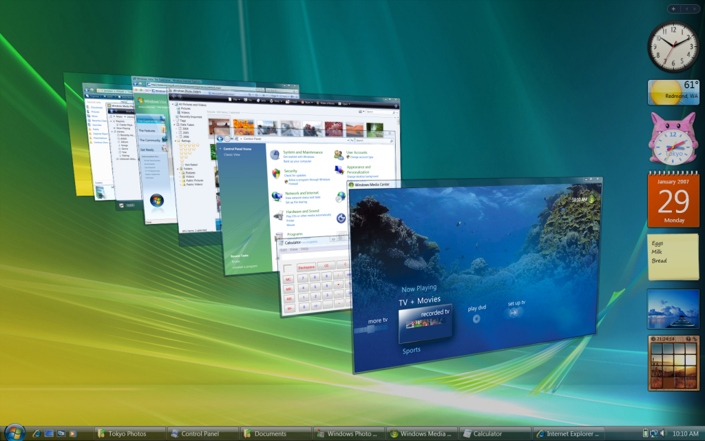 "Screen shot of Vista's ""Flip"" navigation in action"