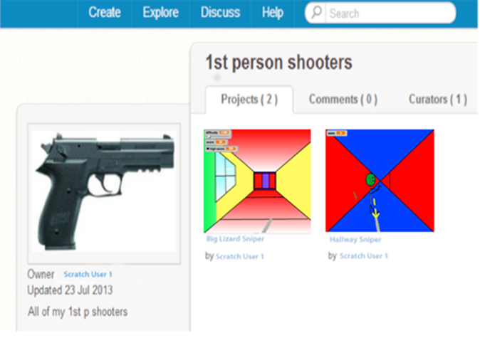 An image of a realistic gun in a Scratch game produced by a child.