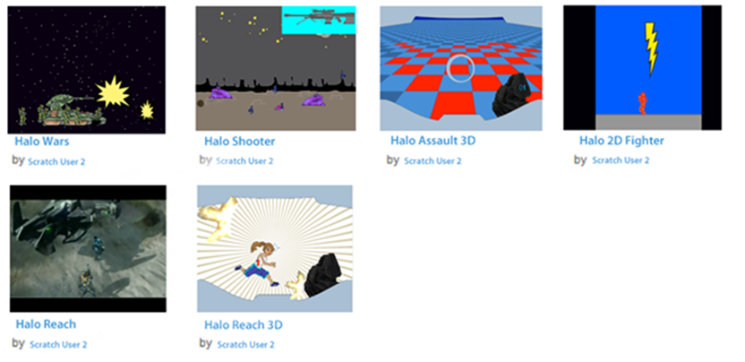 A collection of Halo inspired Scratch games and animations produced by a child.